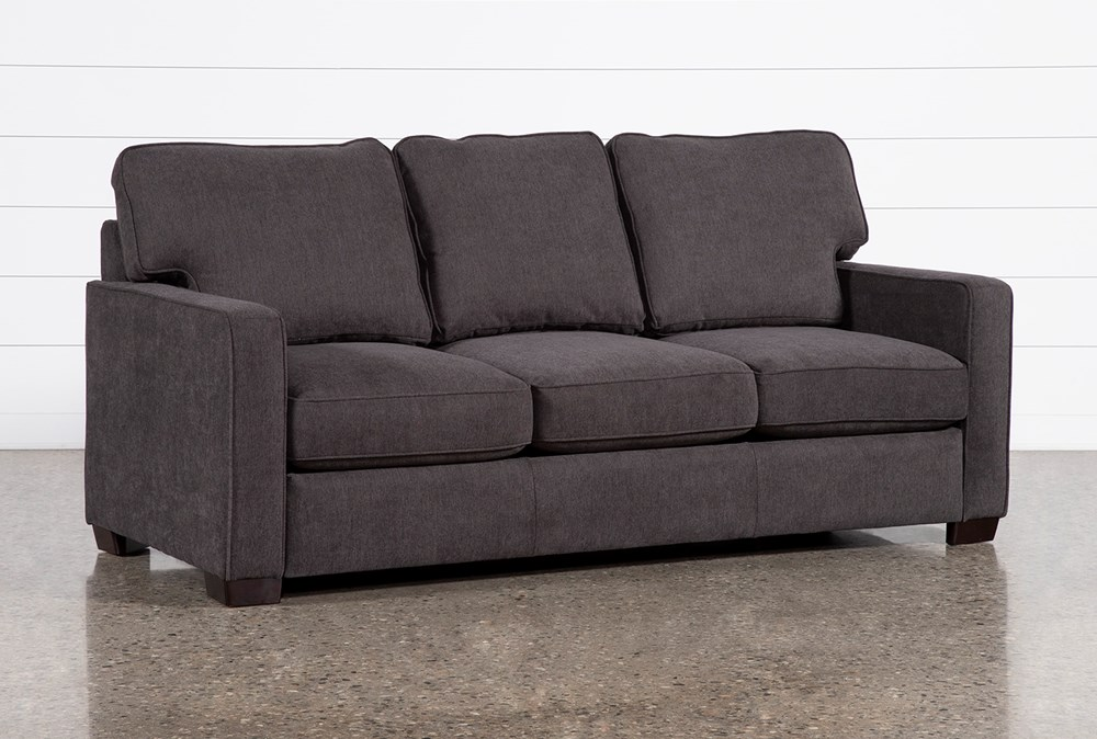 "Morris Charcoal 74"" Full Sleeper Sofa With Memory Foam Mattress"