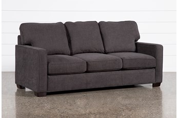 "Morris Charcoal 74"" Full Sleeper Sofa With Memory Foam Mattress"