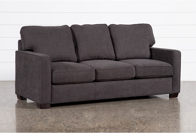 "Morris Charcoal 74"" Full Sleeper Sofa With Memory Foam Mattress - 360"