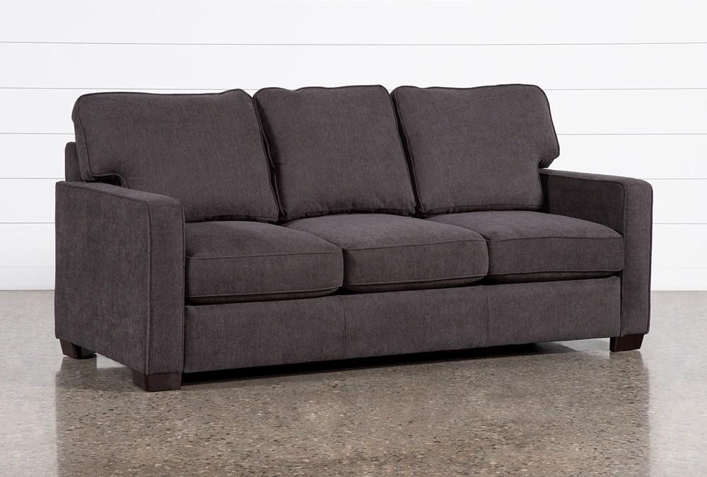 "Morris Charcoal 82"" Queen Sleeper Sofa With Memory Foam Mattress"