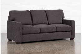 "Morris Charcoal 82"" Queen Sleeper Sofa With Memory Foam Mattress"