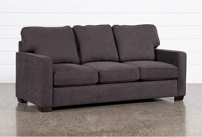 "Morris Charcoal 82"" Queen Sleeper Sofa With Memory Foam Mattress - 360"