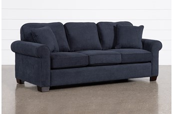 "Margot Denim 81"" Full Sleeper Sofa With Memory Foam Mattress"