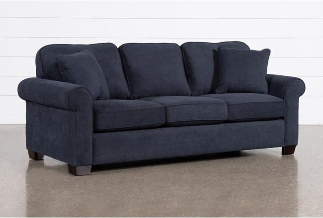 "Margot Denim 89"" Queen Sleeper Sofa With Memory Foam Mattress - 360"