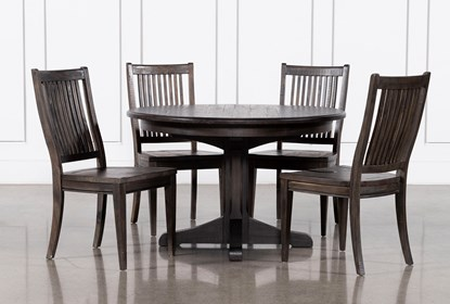 Valencia 48 Inch Round 5 Piece Dining Table Set With Side Chairs