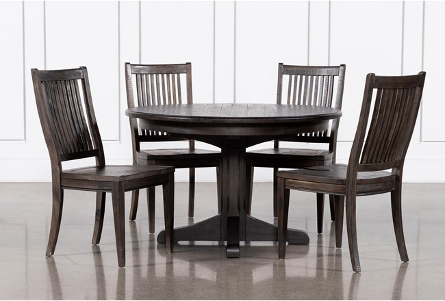 Valencia 48 Inch Round 5 Piece Dining Table Set With Side Chairs - 360