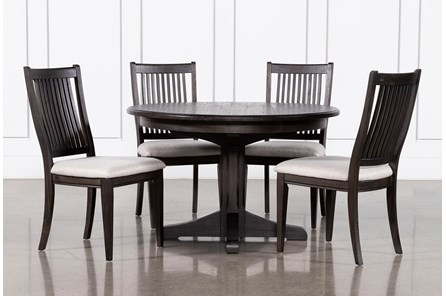 Valencia 48 Inch Round 5 Piece Dining Table Set With Upholstered Seat Side Chairs