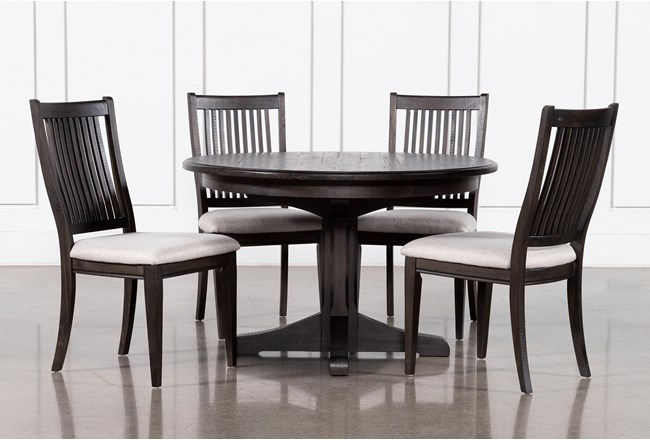 Valencia 48 Inch Round 5 Piece Dining Table Set With Upholstered Seat Side Chairs - 360