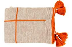 Ca Accent Throw-Orange Knit Tassel Grid