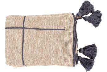 Ca Accent Throw-Grey Knit Tassel Grid