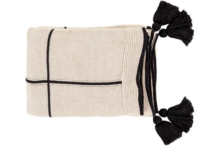 Ca Accent Throw-Black Knit Tassel Grid