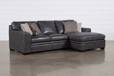 "Greer Dark Grey Leather 2 Piece 108"" Sectional With Right Arm Facing Chaise & Left Arm Facing Loveseat"