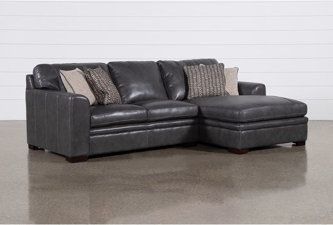 "Greer Dark Grey Leather 2 Piece 108"" Sectional With Right Arm Facing Chaise & Left Arm Facing Loveseat - 360"