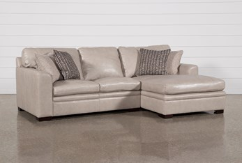 """Greer Stone Leather 2 Piece 108"""" Sectional With Right Arm Facing Chaise & Left Arm Facing Loveseat"""