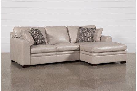 Greer Stone Leather 2 Piece Sectional With Right Arm Facing Chaise & Left Arm Facing Loveseat