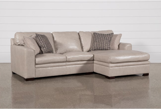 "Greer Stone Leather 2 Piece 108"" Sectional With Right Arm Facing Chaise & Left Arm Facing Loveseat - 360"
