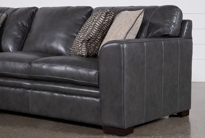 Fabulous Greer Dark Grey Leather 2 Piece Sectional With Left Arm Facing Chaise Right Arm Facing Loveseat Customarchery Wood Chair Design Ideas Customarcherynet