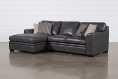 "Greer Dark Grey Leather 2 Piece 108"" Sectional With Left Arm Facing Chaise & Right Arm Facing Loveseat"