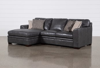 """Greer Dark Grey Leather 2 Piece 108"""" Sectional With Left Arm Facing Chaise & Right Arm Facing Loveseat"""