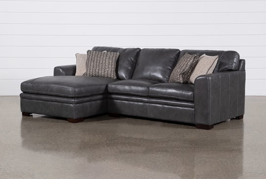 Greer Dark Grey Leather 2 Piece Sectional With Left Arm Facing Chaise & Right Arm Facing Loveseat
