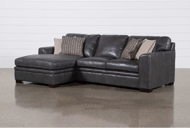 "Greer Dark Grey Leather 2 Piece 108"" Sectional With Left Arm Facing Chaise & Right Arm Facing Loveseat - 360"