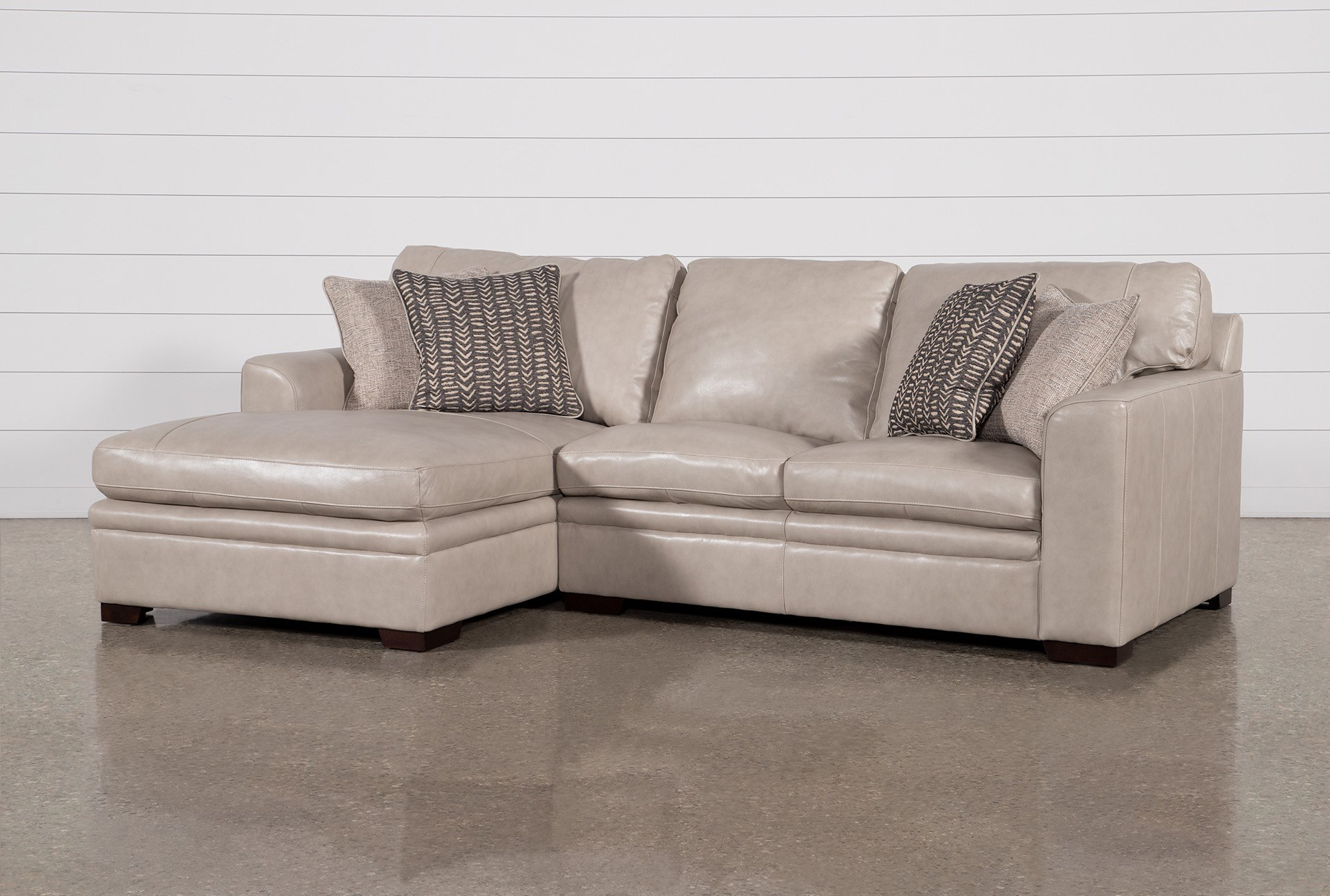 Greer Stone Leather 2 Piece 108 Sectional With Left Arm Facing Chaise Right Arm Facing Loveseat Living Spaces
