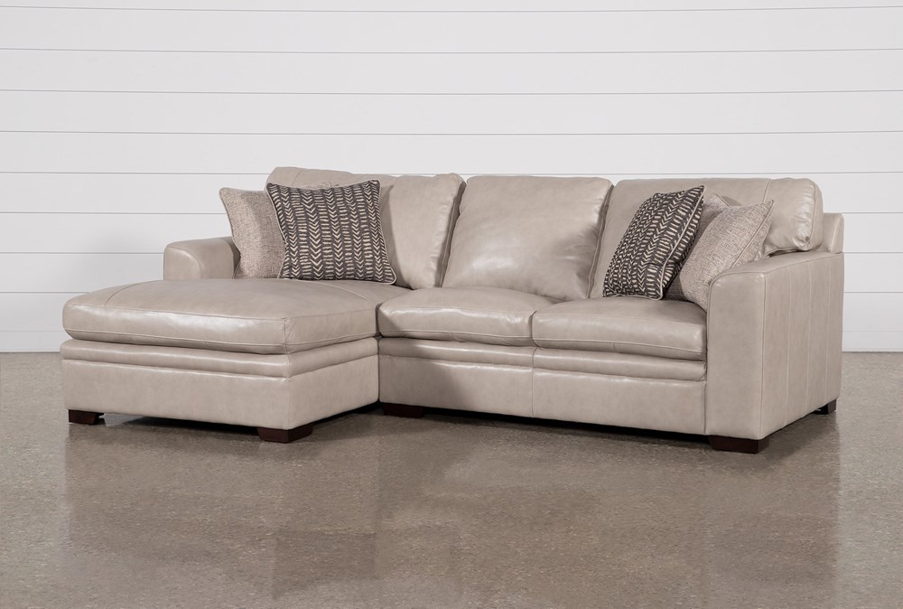 Greer Stone Leather 2 Piece Sectional With Left Arm Facing Chaise & Right Arm Facing Loveseat