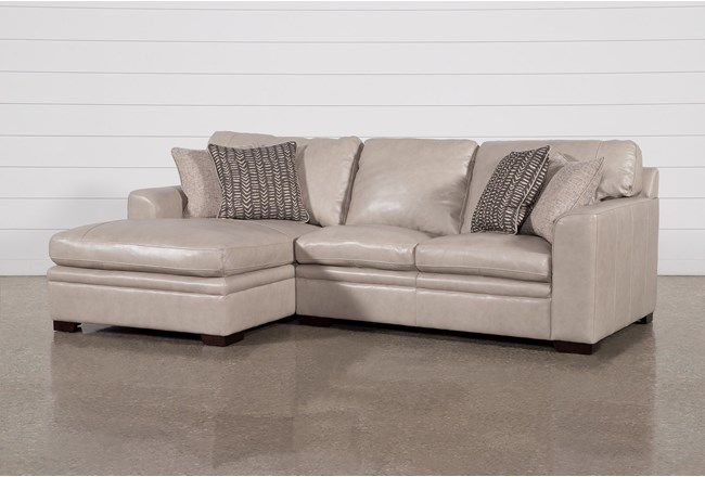 Greer Stone Leather 2 Piece Sectional With Left Arm Facing Chaise & Right Arm Facing Loveseat - 360