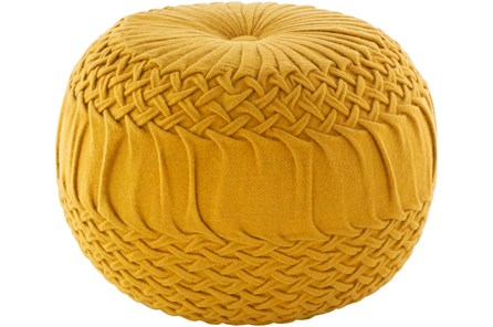 Pouf-Mustard Knitted Round