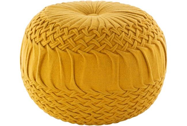 Pouf-Mustard Knitted Round - 360