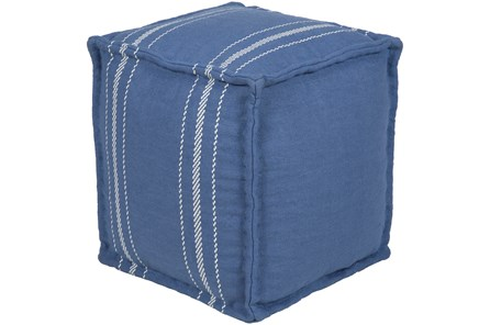 Pouf-Jute Denim And White