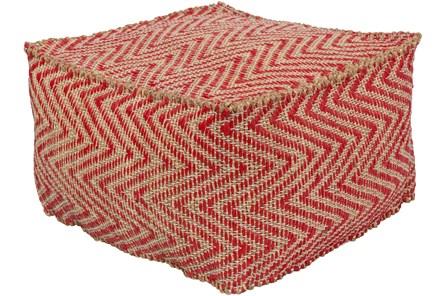 Pouf-Natural Fiber Chevron Red And Khaki