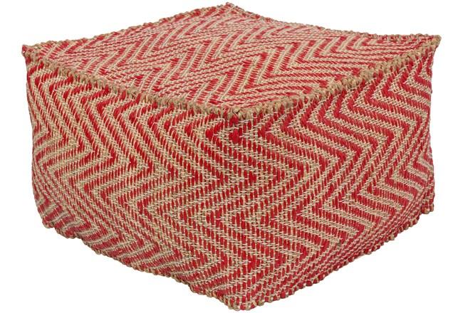 Pouf-Natural Fiber Chevron Red And Khaki - 360