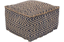 Pouf-Natural Fiber Chevron Navy And Khaki