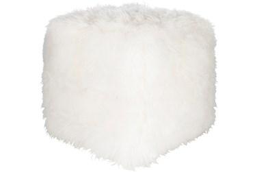 Pouf-Sheepskin Cube White