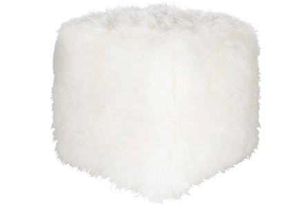 Pouf-Sheepskin Cube White