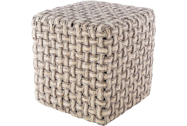 Pouf-Basket Weave Camel And Cream - 360