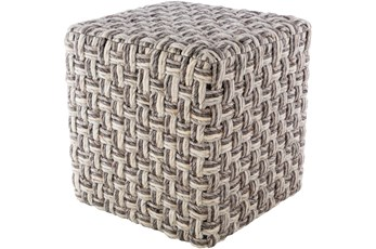 Pouf-Basket Weave Charcoal And Cream