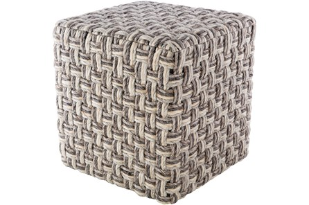 Pouf-Basket Weave Charcoal And Cream - Main