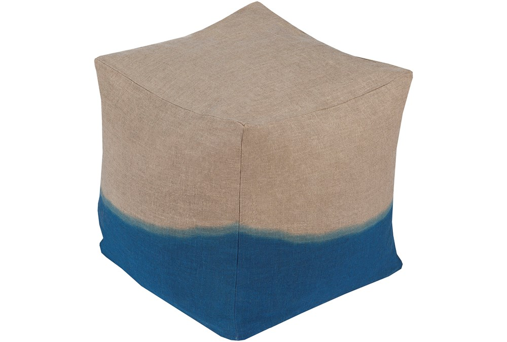 Pouf-Dip Dyed Khahi And Blue