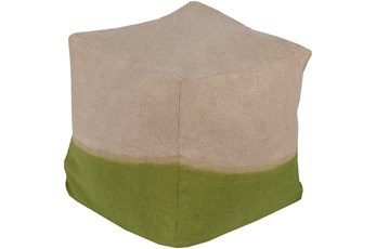 Pouf-Dip Dyed Khaki And Lime
