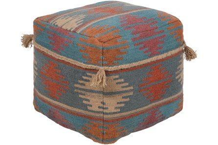 Pouf-Aztec With Tassels Blue