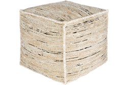 Pouf-Jute Jacquard Butter, Black And White