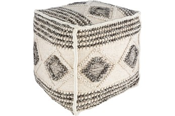 Pouf-Textured With Diamond Pattern Charcoal And White