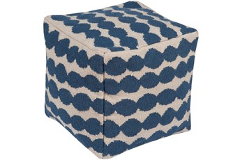 Pouf-Woven Blue And Ivory