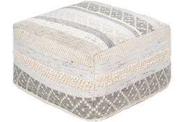 Pouf-Textured With Striped Pattern Natural