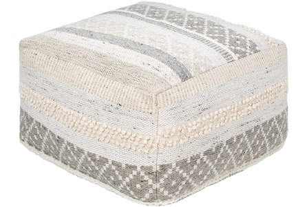 Pouf-Textured With Striped Pattern Natural - Main