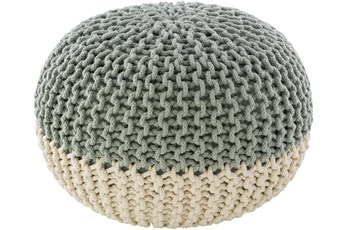 Pouf-Cabled Mint And White