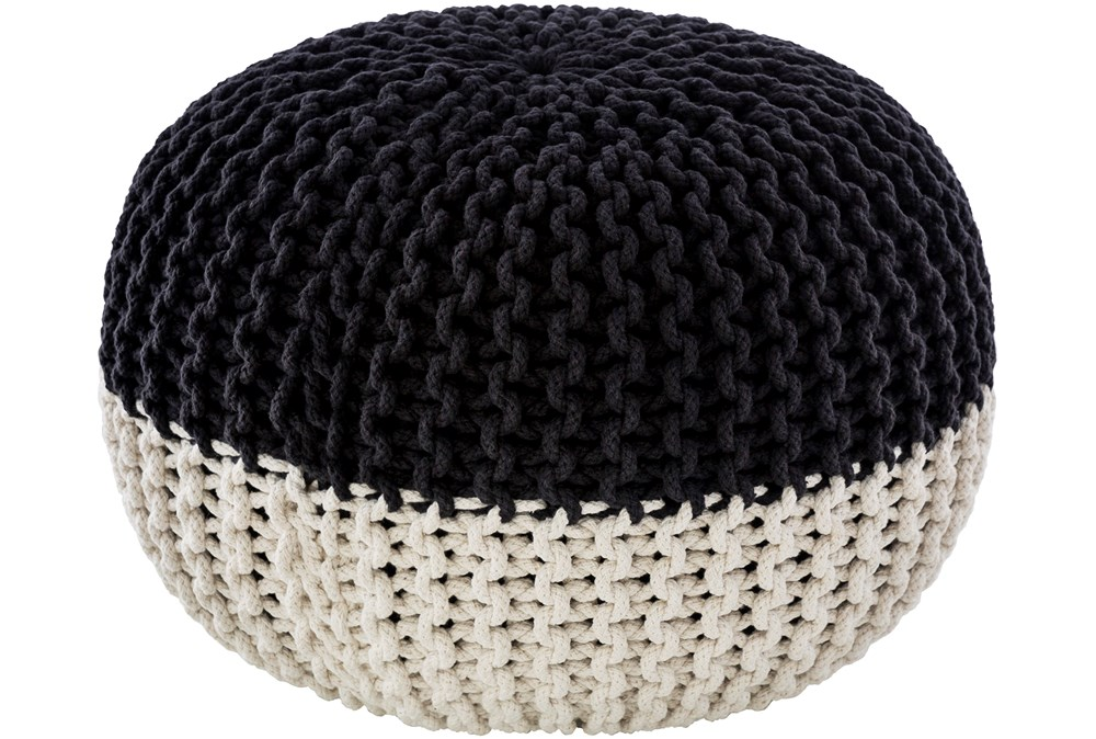 Pouf-Cabled Black And White