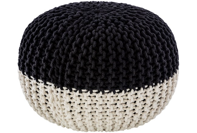 Pouf-Cabled Black And White - 360